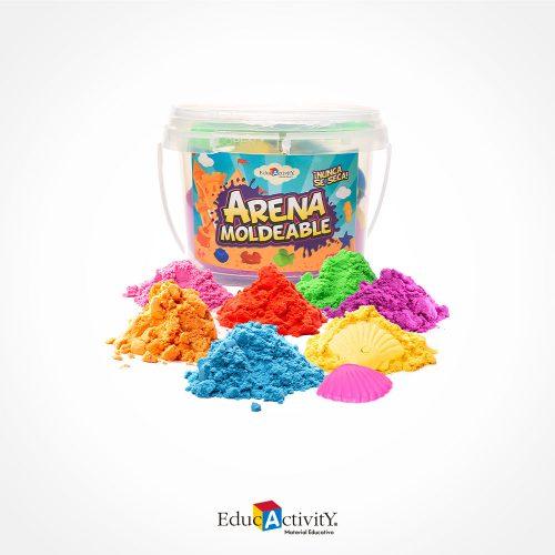 Cubeta con Arena Moldeable 300grs con 6 moldes de plástico diferentes Colores