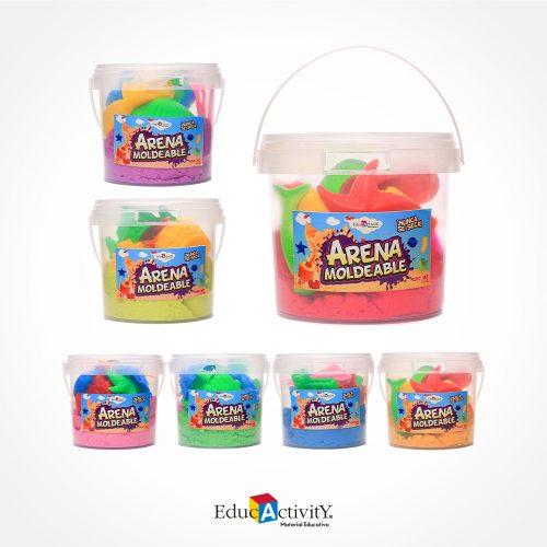 Cubeta con Arena Moldeable 1kg con 8 moldes de plástico diferentes Colores