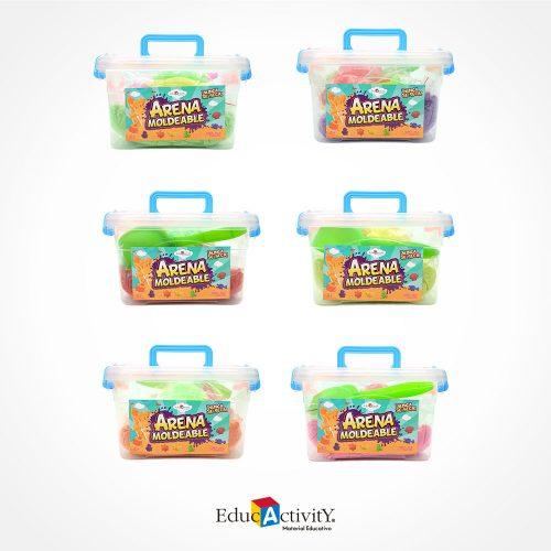 Bote con Arena Moldeable 750 con 19 moldes de plástico diferentes Colores