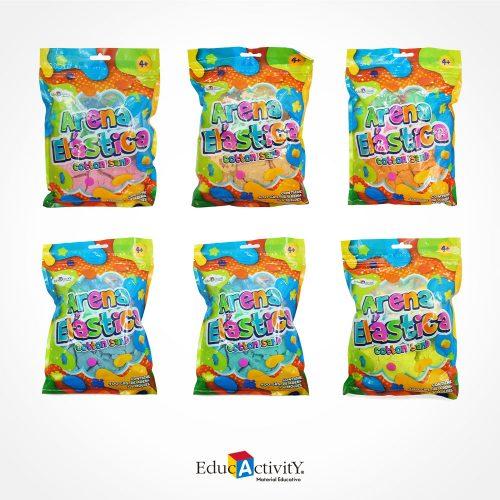 Bolsa de arena elástica para moldear, 6 moldes de plástico para hacer figuras colores