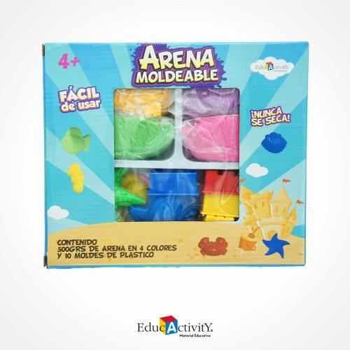 Caja de Arena Moldeable 500grs, 4 colores diferentes, 10 moldes de plástico y 1 kit de herramientas