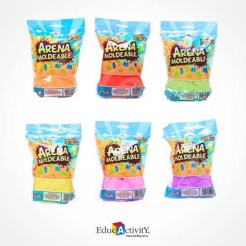 Bolsa de Arena Moldeable 500grs con 12 moldes de plástico y una palita diferentes Colores